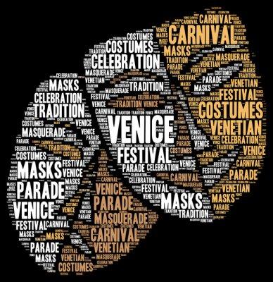 Poster Carnaval de Veneza na Itália nuvem de palavra