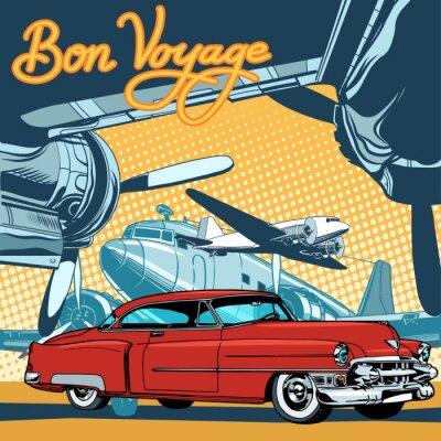 Poster Carro vermelho retro no estilo retro do pop art da pista de decolagem