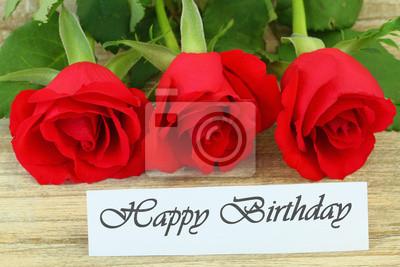 cartão do feliz aniversario com rosas vermelhas cartazes para a