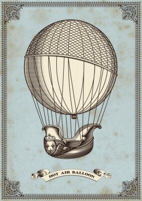 Poster cartão do vintage com balão de ar quente