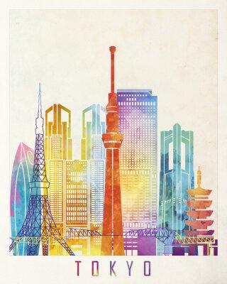 Poster Cartaz da aguarela dos marcos de Tóquio