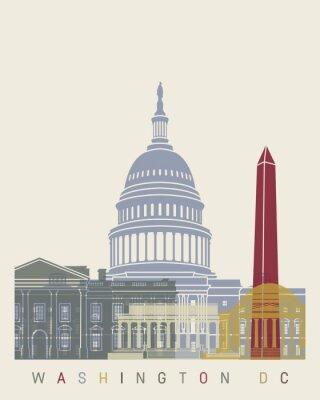 Poster Cartaz da skyline de Washington DC