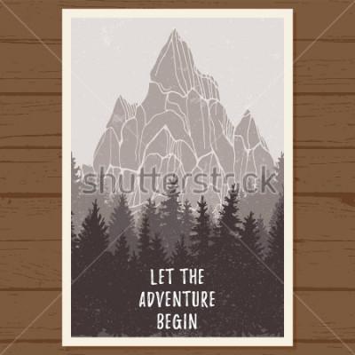 Poster Cartaz de floresta conífera selvagem com montanha; pinheiro, natureza da paisagem, panorama natural da Madeira; aventura ao ar livre camping, caminhadas, turismo, modelo de design; mão desenhada ilust
