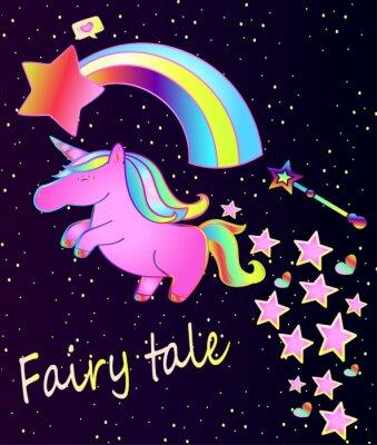 Poster Cartaz do bebê - unicórnio cor-de-rosa bonito com arco-íris em um fundo bonito do gradiente com estrelas e corações