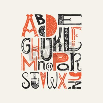 Poster Cartaz do vintage com letras latin originais do alfabeto. Pia batismal do vetor ou projeto da tipografia.