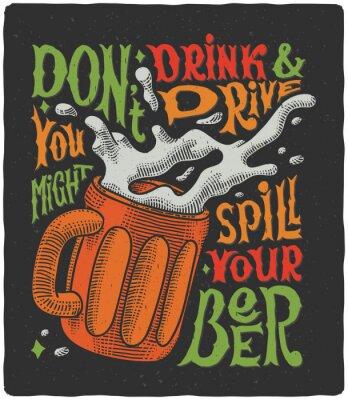 Poster Cartaz gráfico com gravura da caneca e texto engraçado