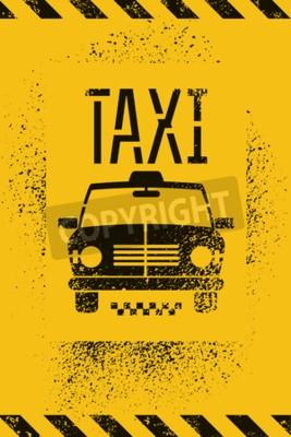 Poster Cartaz retro da cabine de táxi do grunge dos grafittis tipográficos. Ilustração do vetor.