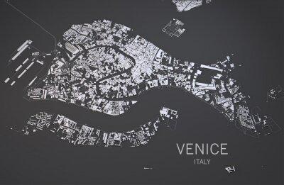 Poster Cartina di Venezia, Italia, vista via satélite, 3d Mappa