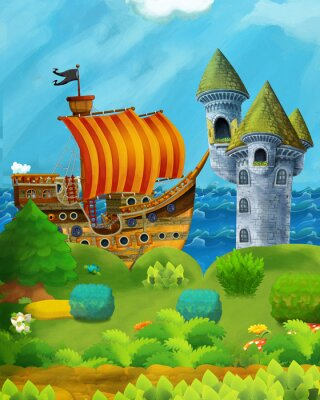Poster cartoon forest scene with prince and princess standing on path near the forest and sea shore and pirate ship is docked hidden and castle tower - illustration for children