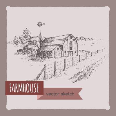 Poster Casa de fazenda americana, celeiro e pasto vetor esboço.