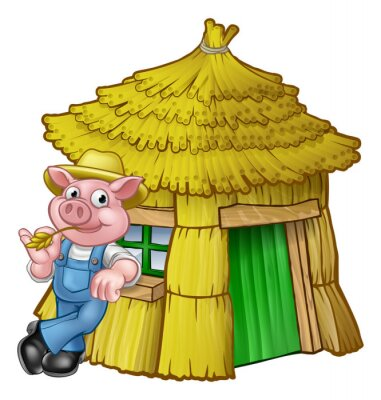 Poster Casa de palha de conto de fadas de três porquinhos