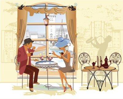 Poster Casal, homem e mulher, no café.