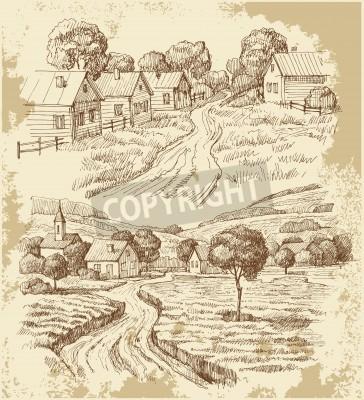 Poster Casas de aldeia esboçar com alimentos