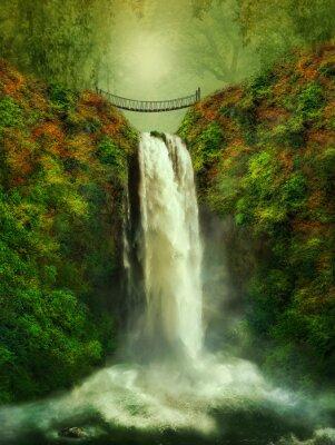 Poster cascata e ponte fantástica