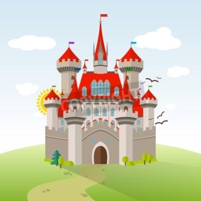 Poster Castelo de conto de fadas. Imaginação vetorial Ilustração infantil. Paisagem plana com árvores verdes, grama, caminho, pedras e nuvens