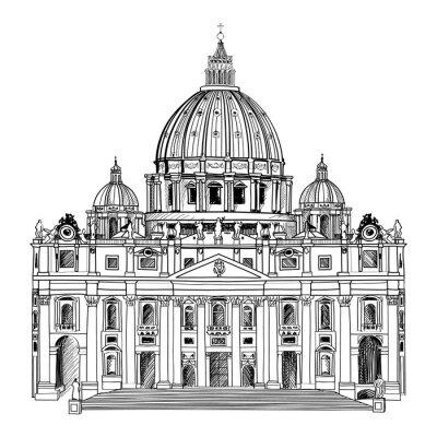 Poster Catedral de São Pedro, em Roma, Itália. Arquitetura do Vaticano.