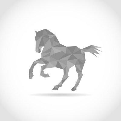Poster Cavalo no estilo do polígono. Baixo design em triângulos