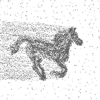 Poster Cavalo Running Feito Das Partículas. Fundo Pontilhado. Vetor
