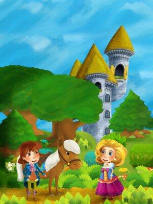 Poster Cena de floresta de desenhos animados com príncipe com seu cavalo e princesa em pé e falando no caminho perto da torre do castelo
