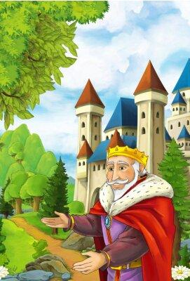 Poster Cena dos desenhos animados com rei feliz que dá boas-vindas a alguém - homem bonito do manga - ilustração para crianças