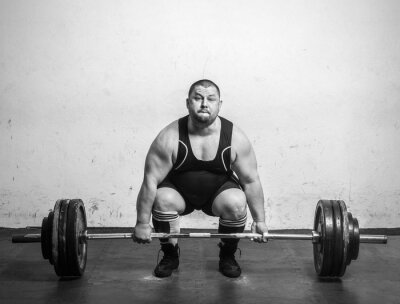 Poster Champion Powerlifter com pesos fortes para levantar pesos
