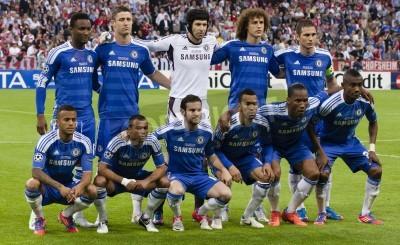 Poster Chelsea FC na UEFA Champions League jogo final no Allianz Arena em 19 de maio de 2012 em Munique, Alemanha.