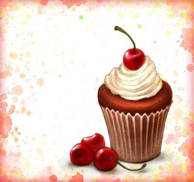 Poster Cherry cupcake de chocolate no fundo da aguarela