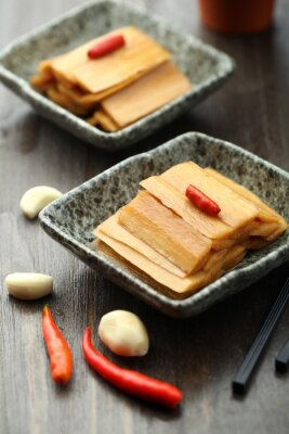Poster Chinês, cozinha, servido, molho, prato