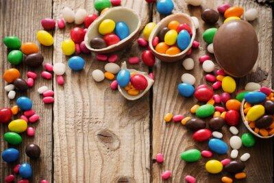Poster Chocolate, ovos, sobre, madeira, fundo