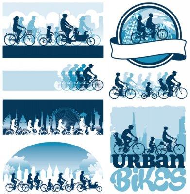 Poster Ciclistas urbanos etiquetas silhuetas vetoriais editáveis
