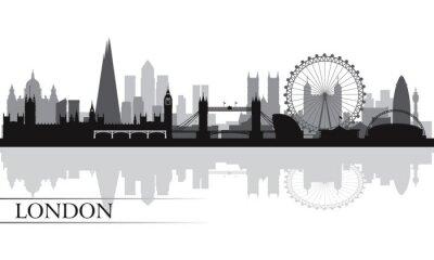 Poster Cidade de Londres silhueta skyline fundo