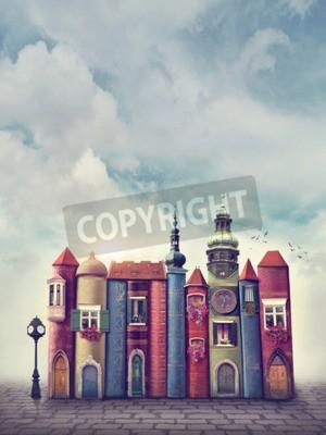 Poster Cidade mágica com livros velhos