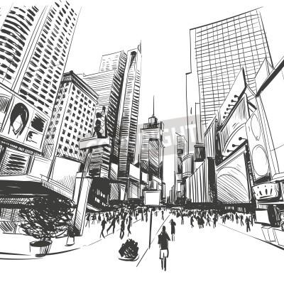 Poster Cidade mão desenhada, ilustração vetorial