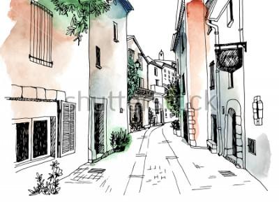 Poster Cidade velha rua na mão desenhada estilo de esboço. Ilustração vetorial Pequena cidade europeia. França. Paisagem urbana em fundo colorido em aquarela