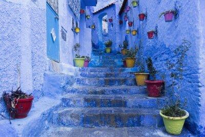 Poster Cidades da bela cidade azul de Chefchaouen, Marruecos