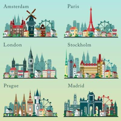 Poster Cidades skylines definido. Vector planas paisagens. Cidades Paisagens urbanas da Europa