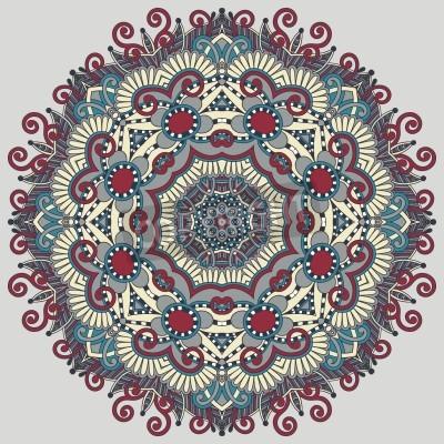 Poster Círculo do ornamento do laço, redondo ornamental padrão geométrico doily