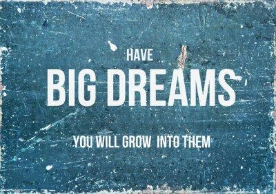 Poster Citações inspiradores no fundo rústico ter sonhos GRANDES