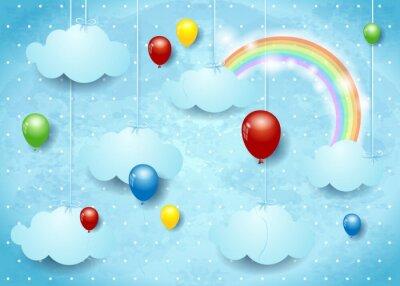 Poster Cloudcape surreal com balões coloridos