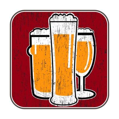 Poster Coaster do vetor com diferentes copos de cerveja com zero