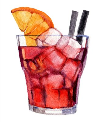 Poster Cocktail with ice and orange isolated on white background, watercolor illustration