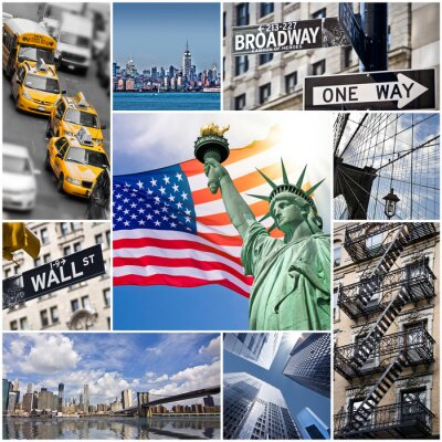 Poster Colagem carré New York - EUA