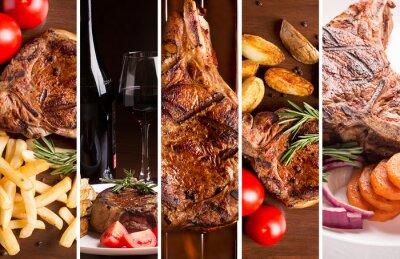 Poster Colagem das fotos de carne grelhada