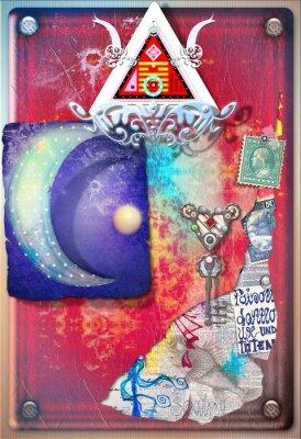 Poster Colagem, fundo, colorido, alquímico, sucatas, estrelado, lua,
