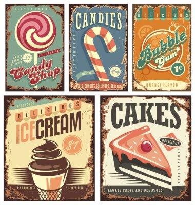Poster Coleção da loja dos doces do vintage de sinais do estanho