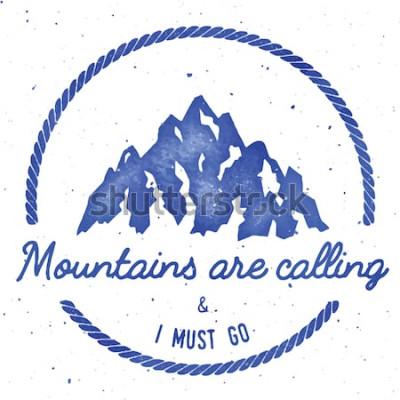 Poster Coleção de distintivos de insígnia de aventura e expedição de montanha. Logotipo de expedição ao ar livre. Escalada carimbada impressão de t-shirt. Ilustração em vetor em aquarela de aquarela.