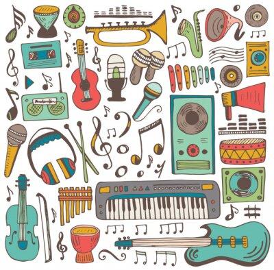 Poster Coleção de doodle de música