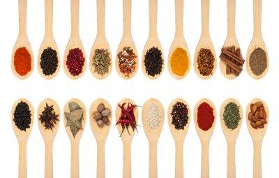 Poster Coleção de especiarias em colheres