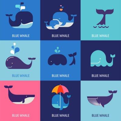 Poster Coleção de ícones do vetor da baleia