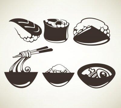 Poster Coleção do vetor de símbolos do alimento japoneses